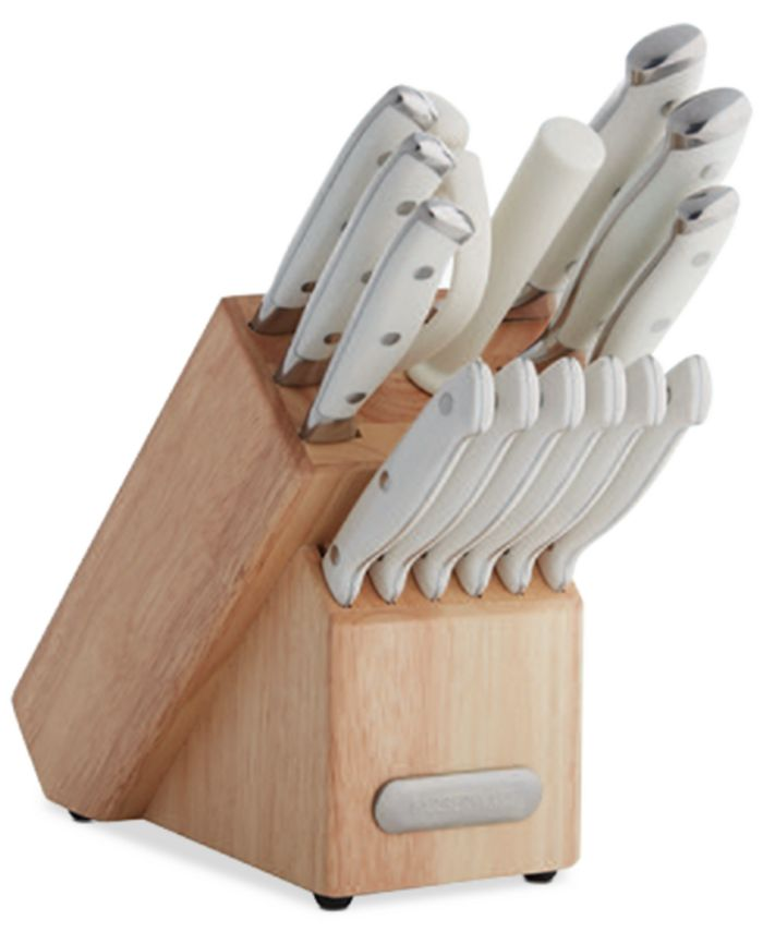 Farberware - 15-Pc. White Handle Cutlery Block Set