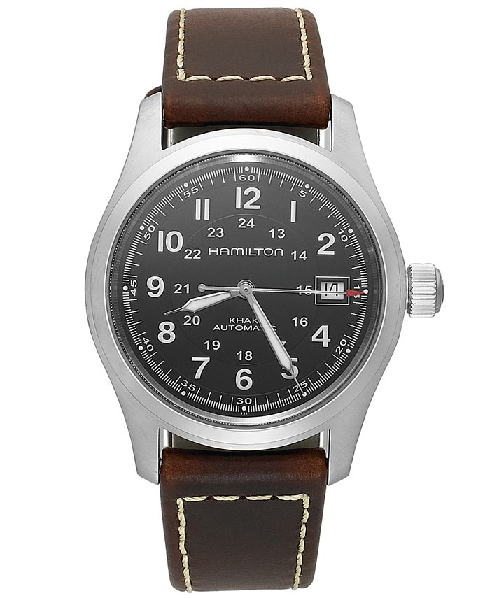 Hamilton - Watch, Men's Swiss Automatic Khaki Field Brown Leather Strap 38mm H70455533