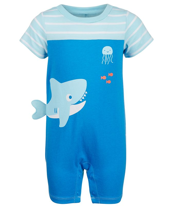 First Impressions Baby Boys Shark Cotton Sunsuit, Created for Macy's