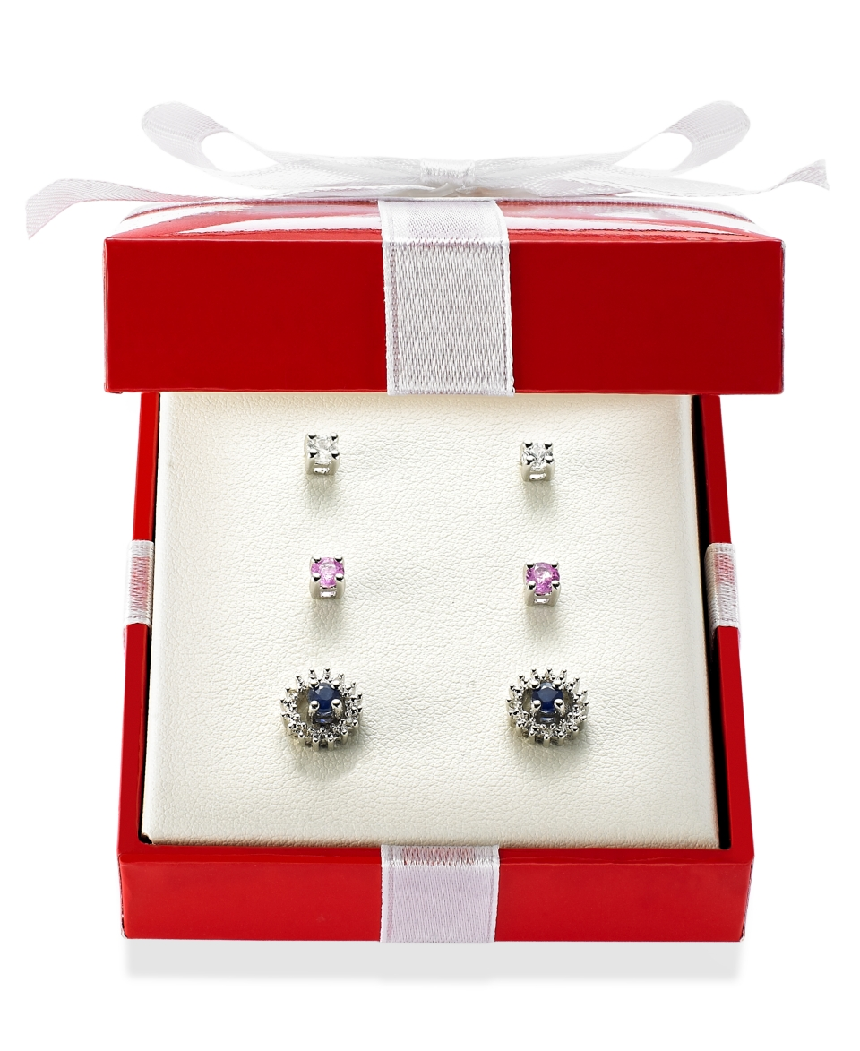 Sterling Silver Earring Set, Pink (3/8 ct. t.w.), White (3/8 ct. t.w.) and Blue Sapphire (3/8 ct. t.w.) and Diamond Accent Jacket Interchangeable Stud Set   Earrings   Jewelry & Watches