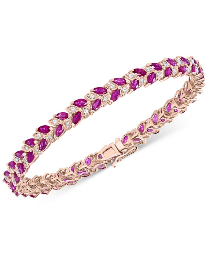 EFFY Collection EFFY® Ruby (6-1/10 ct. t.w.) & Diamond (3/8 ct. t.w.) Tennis Bracelet in 14k Rose Gold & Reviews - Bracelets - Jewelry & Watches - Macy's