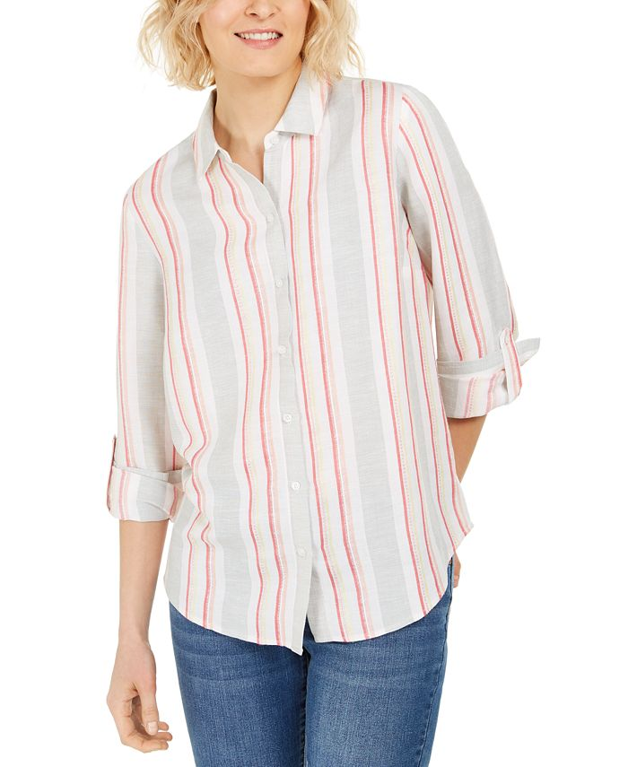 Charter Club - Eyelet-Pocket Tie-Front Top