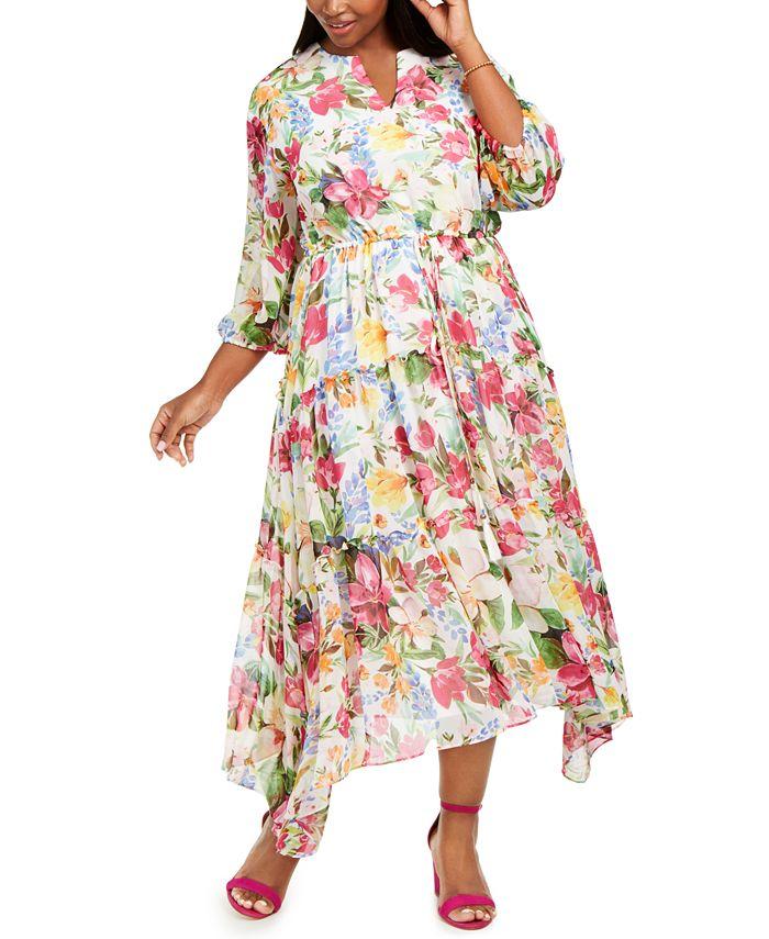 Taylor - Plus Size Floral Midi Dress