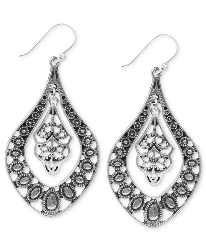 Lucky Brand - Earrings, Silver-Tone Filigree Oblong Earrings