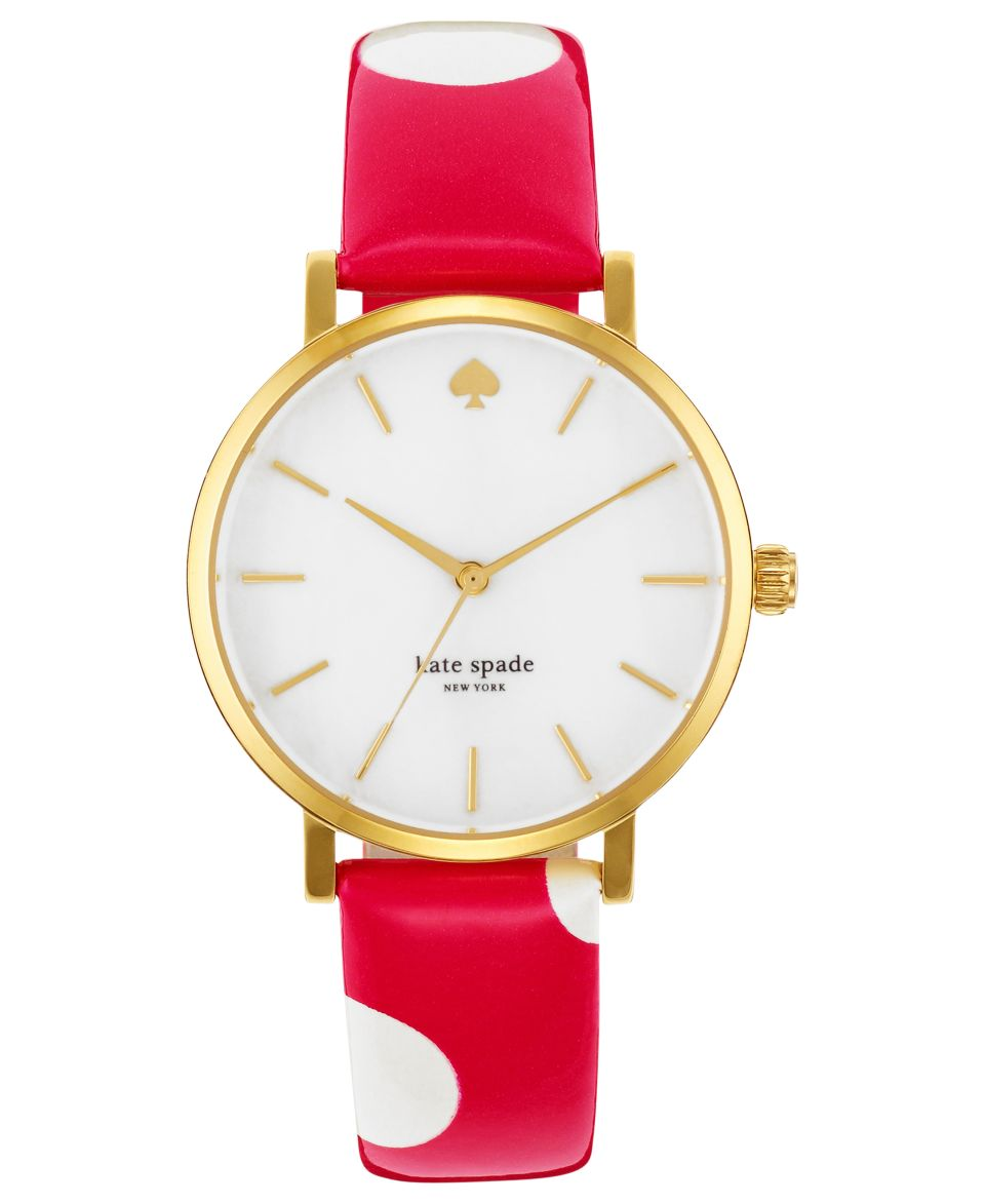 kate spade new york Watch, Womens Metro Pink Polka Dot Leather Strap 34mm 1YRU0224   Watches   Jewelry & Watches