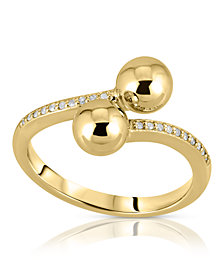 Brilliant Bubbles Diamond (1/10 ct. t.w.) Bypass Ring Designed in Sterling Silver, 14k Yellow Gold over Sterling Silver or 14k Rose Gold over Sterling Silver