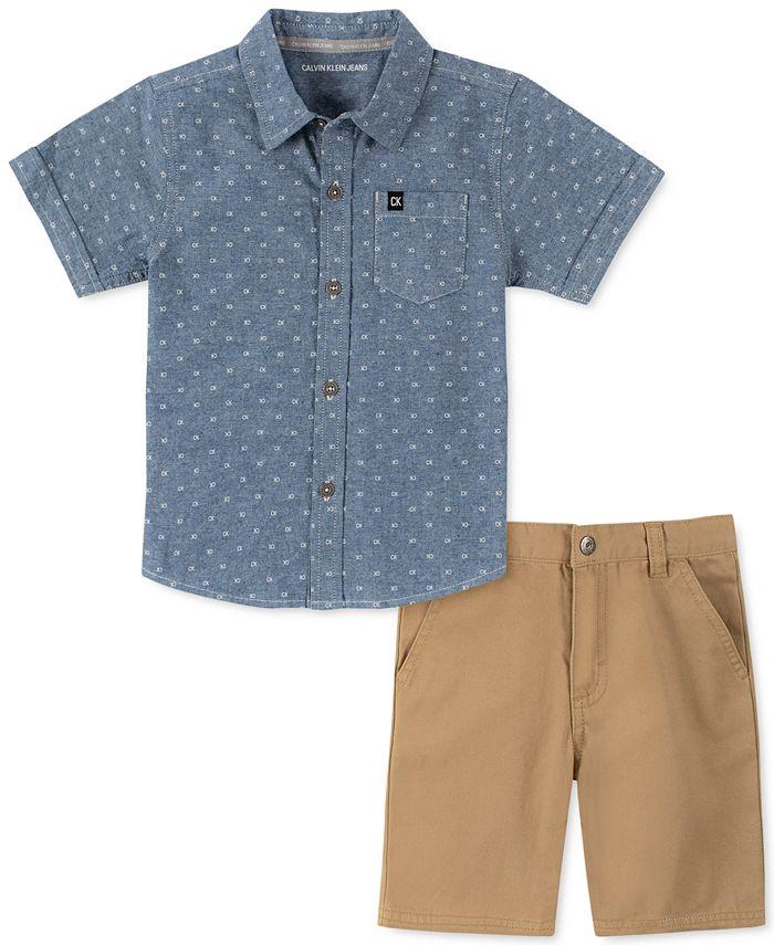 Calvin Klein - Toddler Boys 2-Pc. Logo-Print Chambray Shirt & Twill Shorts Set