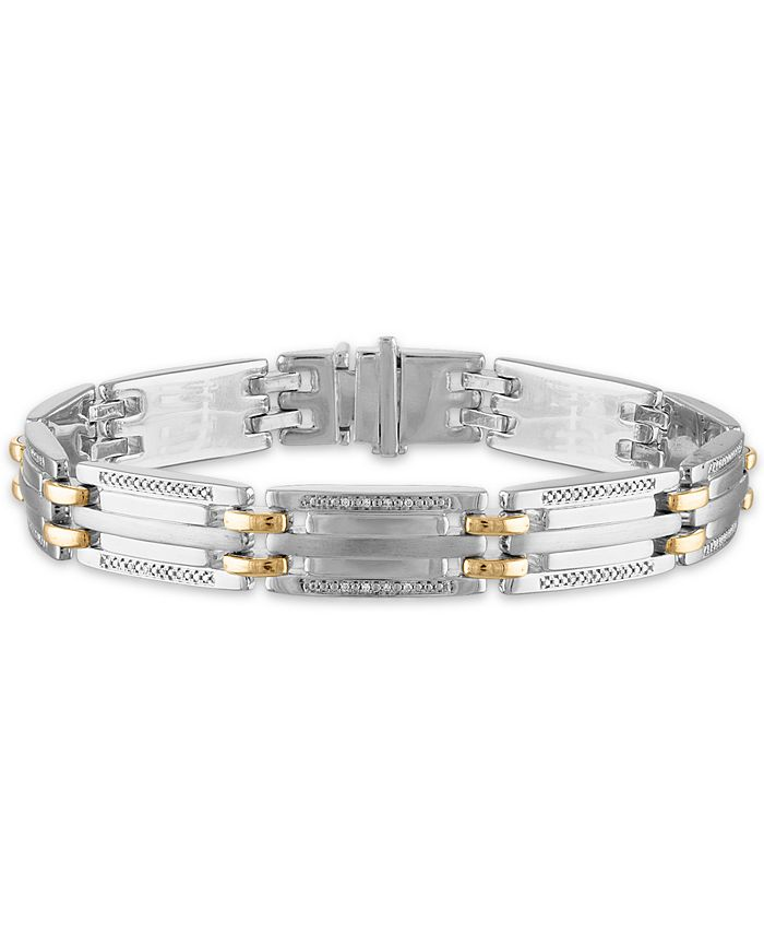 "Macy's - Men's 1/5 Carat Diamond 8 1/2"" Bracelet in 10k Yellow Gold and Sterling Silver"