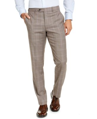 Men's Classic-Fit Airsoft Stretch Brown Windowpane Suit Pants