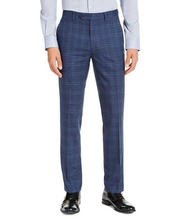 Alfani Men S Slim Fit Stretch Navy Blue Plaid Suit Pants Created For Macy S Reviews Pants Men Macy S