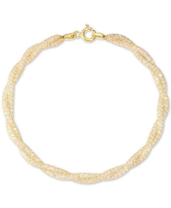 Italian Gold - Cubic Zirconia Braided Toscana Crochet Link Bracelet in 14k Gold