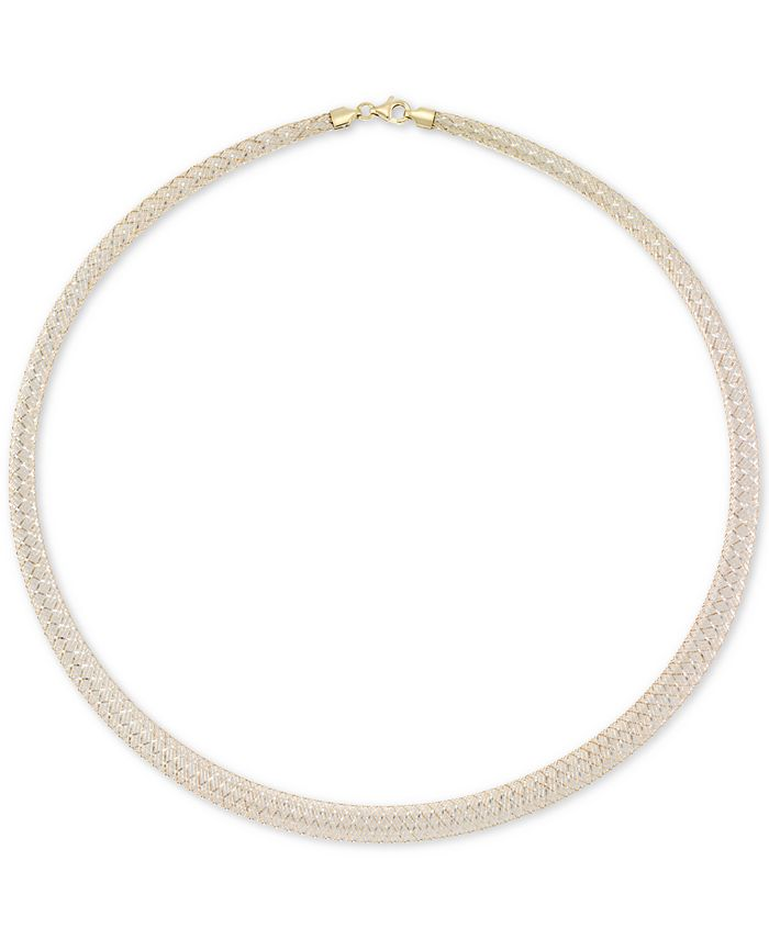 """Italian Gold - Graduated Two-Tone Ribbon Wire 18"""" Statement Necklace in 14k Gold & White Gold"""