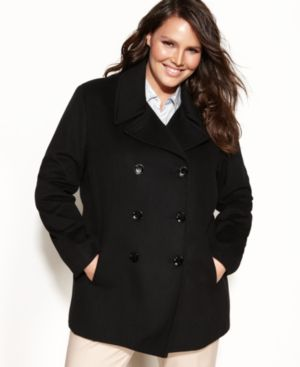 Calvin Klein Plus Size, Wool-Cashmere-Blend Pea Coat