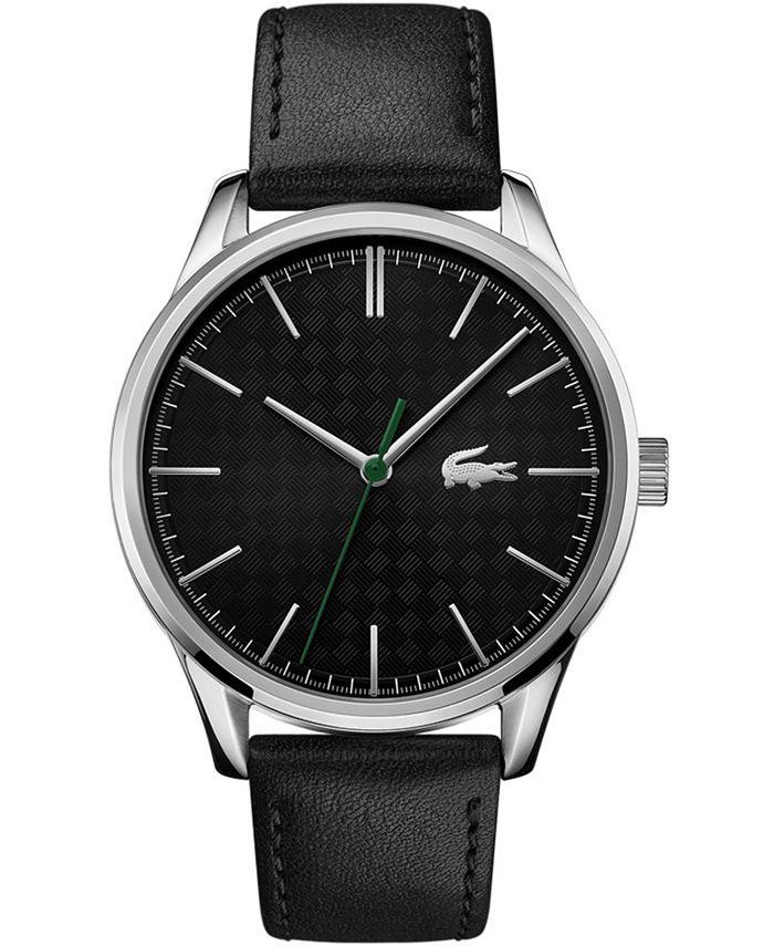 Lacoste - Men's Vienna Black Leather Strap Watch 42mm