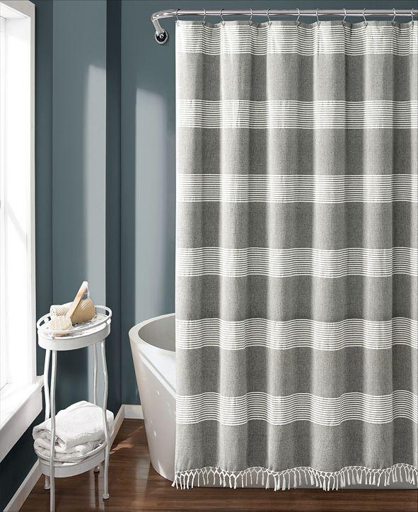 "Lush Decor Tucker Stripe Yarn Dyed Cotton 72"" x 72"" Shower Curtain"