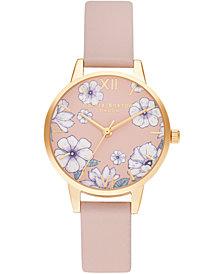 Olivia Burton Women's Groovy Blooms Candy Pink Vegan Leather Strap Watch 30mm