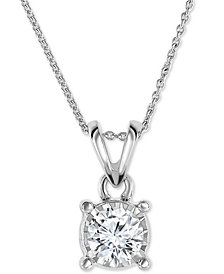 """TruMiracle® Diamond 18"""" Pendant Necklace (1/2 ct. t.w.) in 14k White, Yellow, or Rose Gold"""