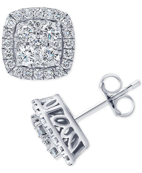 Macy's Diamond Halo Cluster Stud Earrings (1 ct. t.w.) in 14k White Gold