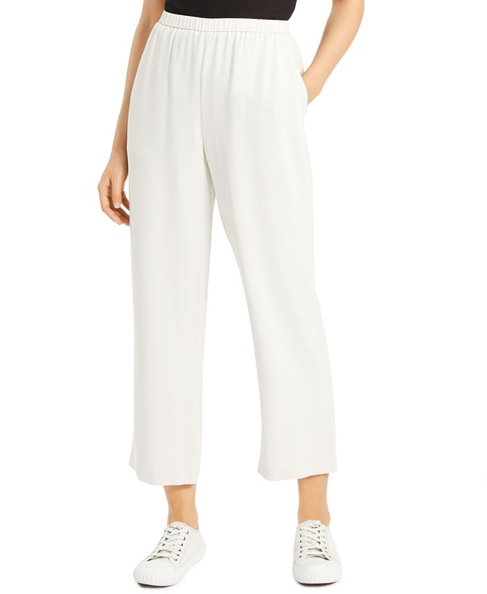 Eileen Fisher - Silk Pull-on Straight Ankle Pants
