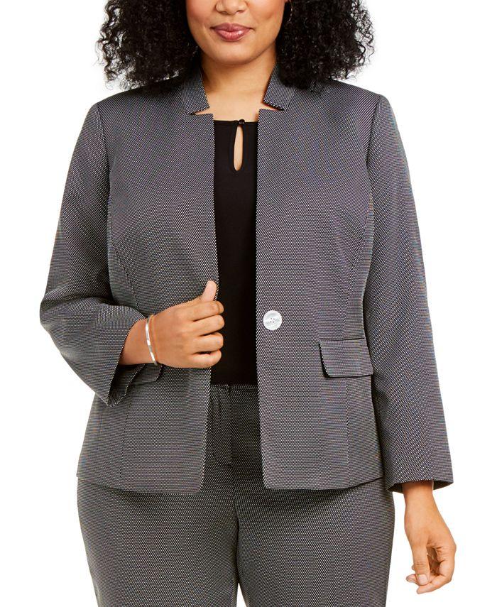 Kasper - Plus Size Dot-Print Jacket