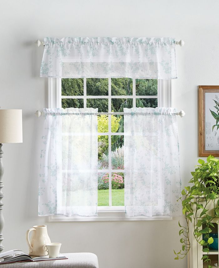 Martha Stewart Collection - Martha Stewart Bellefield Floral Valance & Tiers Set