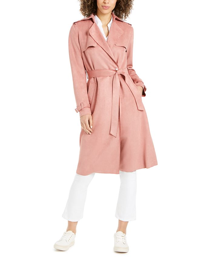 Tahari - Faux-Suede Belted Trench Coat