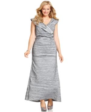 Alex Evenings Plus Size Dress, Cap-Sleeve Portrait-Collar Evening Gown