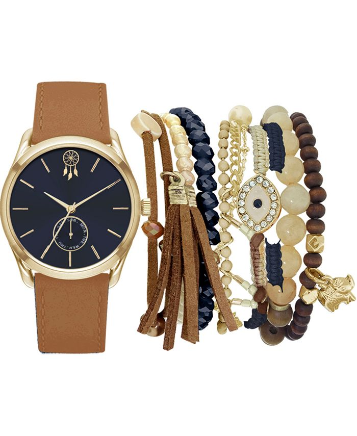 Jessica Carlyle - Women's Cognac Faux Leather Strap Watch 36mm Gift Set