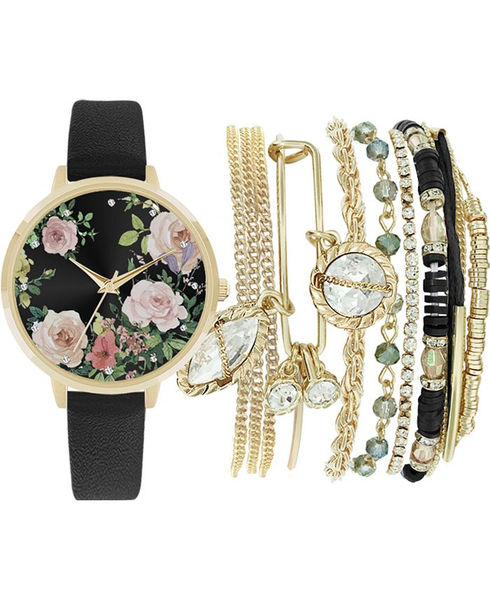 Jessica Carlyle - Women's Black Faux Leather Strap Watch 36mm Gift Set