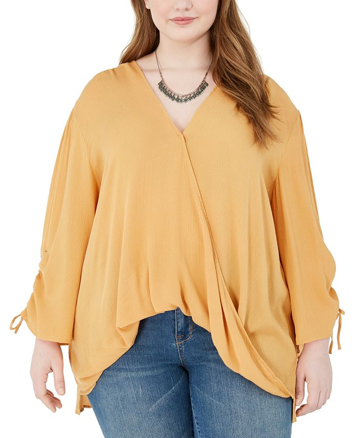 Band of Gypsies - Trendy Plus Size Ruched-Sleeve Surplice Blouse