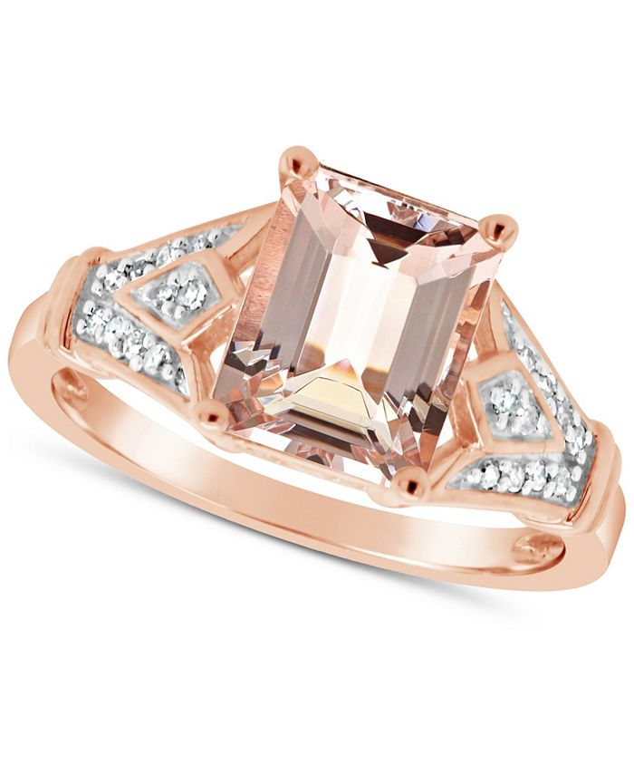Macy's - Morganite (2 ct. t.w.) and Diamond (1/10 ct. t.w.) Ring in 14K Rose Gold-Plated Sterling Silver