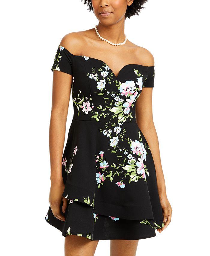 B Darlin - Juniors' Off-The-Shoulder Floral-Print Dress