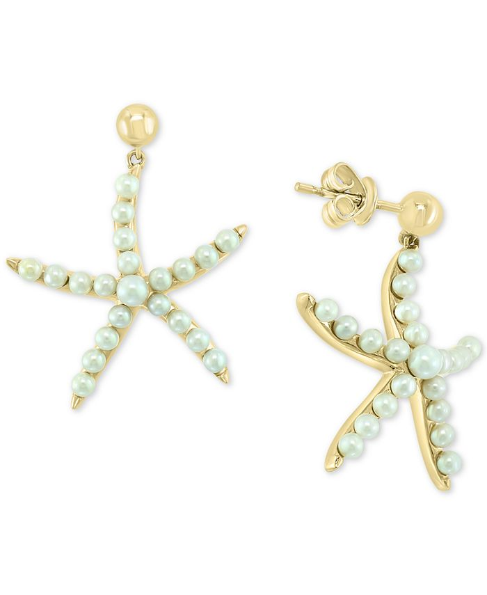 EFFY Collection - Cultured Freshwater Pearl (2 & 3mm) Starfish Drop Earrings in 14k Gold