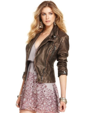 Free People Long-Sleeve Faux-Leather Metallic Motorcycle Jacket