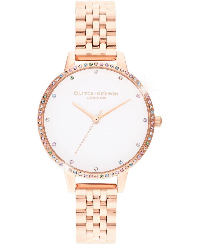 Olivia Burton - Women's Rainbow Rose Gold-Tone Stainless Steel Bracelet Watch 34mm
