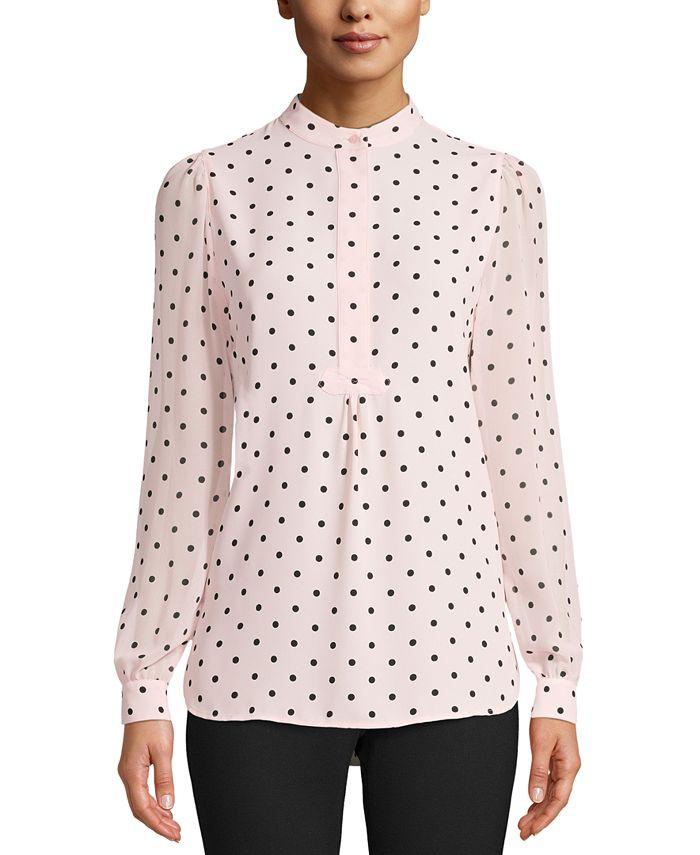 Anne Klein - Beekman Dot-Print Buttoned-Neck Top
