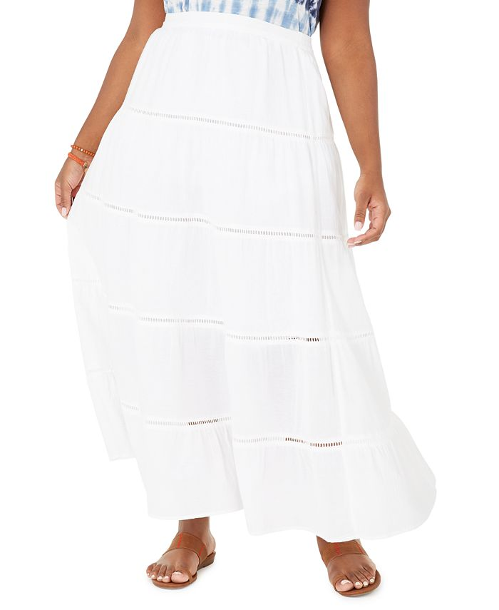 Style & Co - Plus Size Cotton Tiered Maxi Skirt