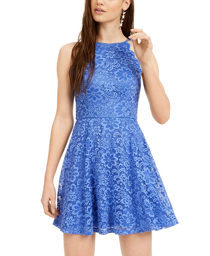 BCX - Juniors' Scalloped Lace Fit & Flare Dress