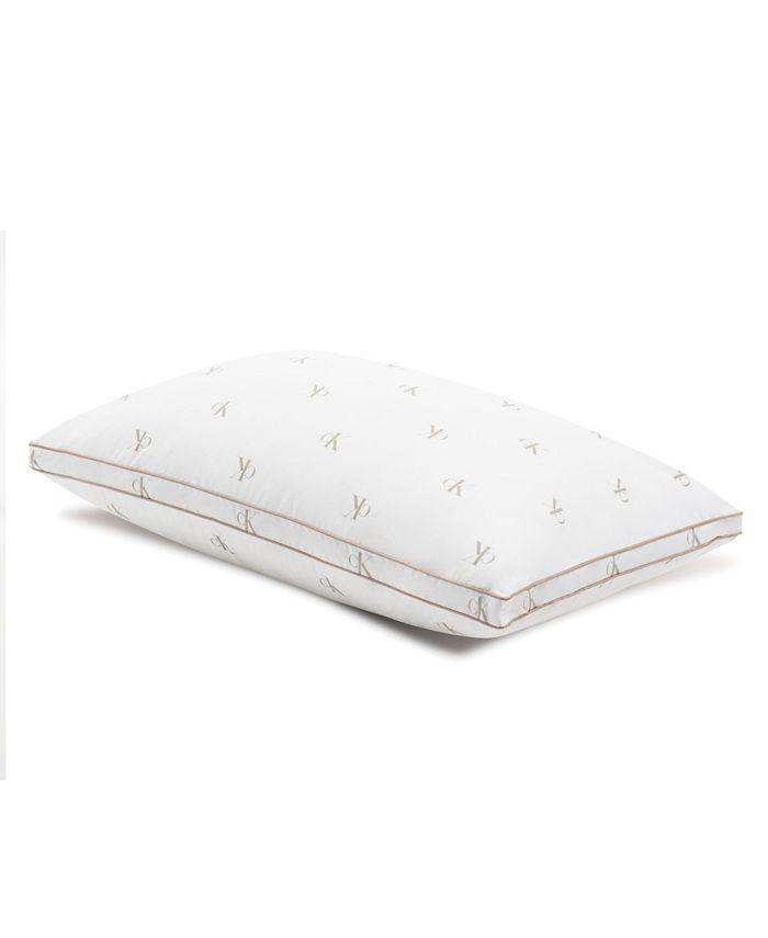 Calvin Klein - Monogram Logo Medium Support Cotton Pillow, Standard/Queen