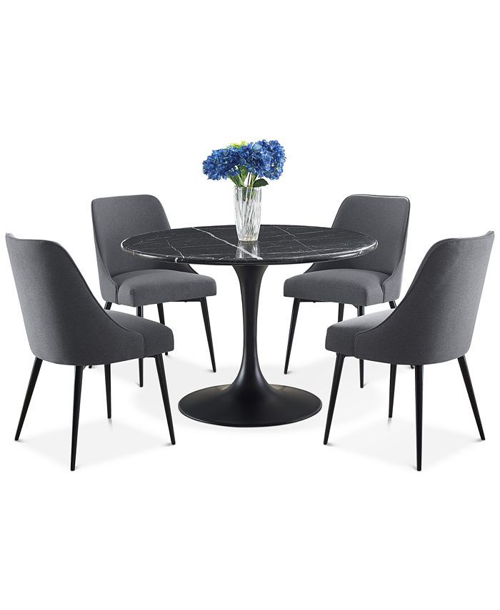 Steve Silver - Colfax 5-Pc. Dining Set, (Black Table & 4 Side Chairs)