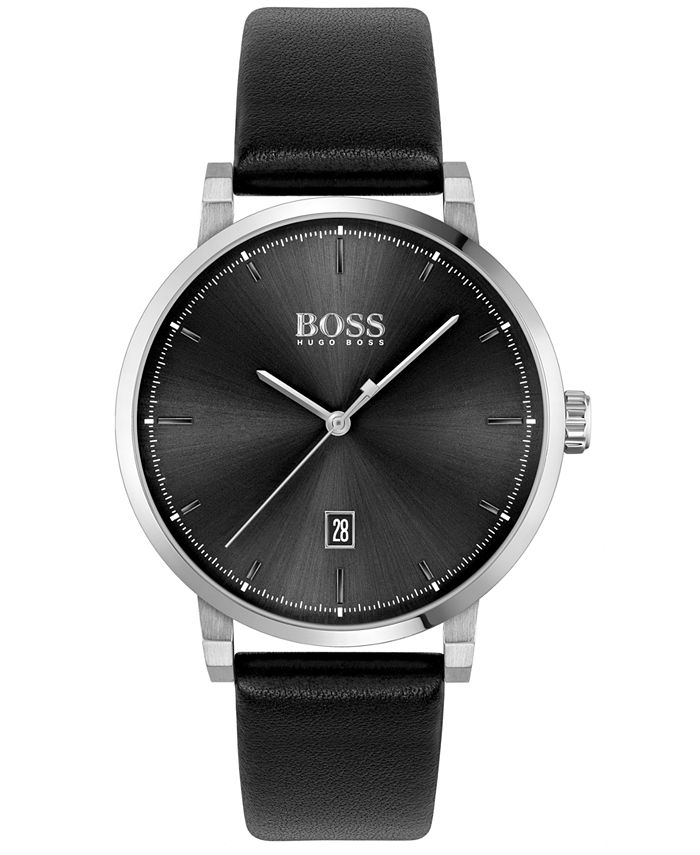 BOSS - Men's Confidence Black Leather Strap Watch 42mm