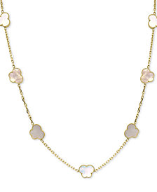 """EFFY® Mother-of-Pearl Butterfly 36"""" Statement Necklace in 18k Gold-Plated Sterling Silver"""