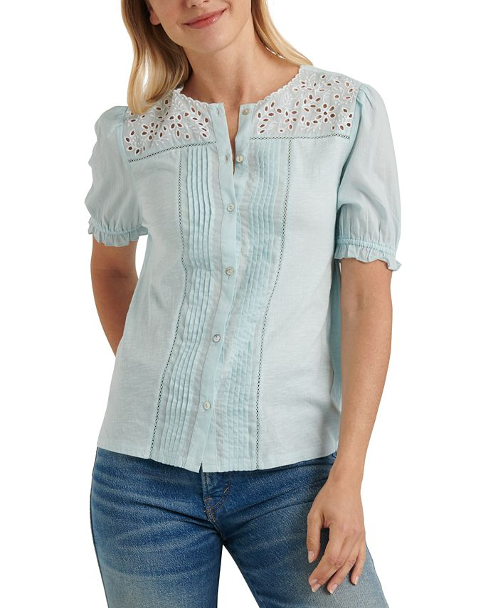 Lucky Brand - Cotton Embroidered Blouse