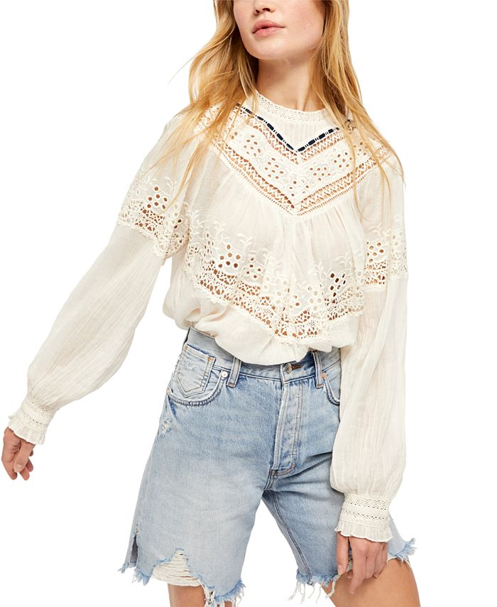 Free People - Abigail Victorian Eyelet Lace-Trimmed Top