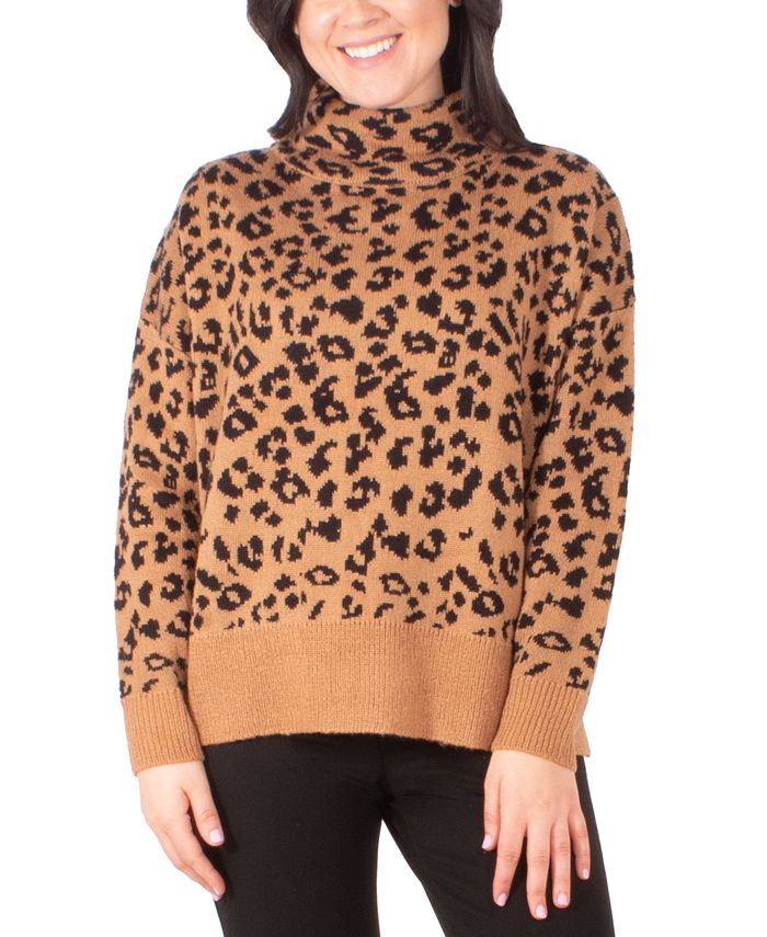 NY Collection - Cat-Print Turtleneck Sweater
