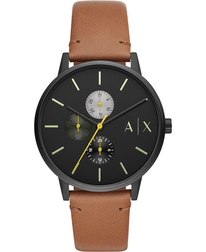 A X Armani Exchange - Men's Cayde Brown Leather Strap Watch 42mm