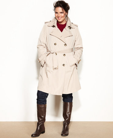 London Fog Plus Size Double Breasted Belted Trench Coat