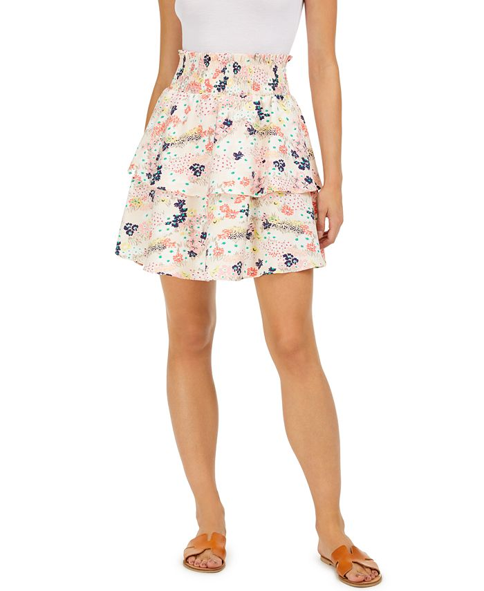 Maison Jules - Floral-Print Tiered Skirt