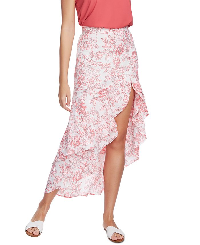 1.STATE - Porcelain Floral-Print High-Low Hem Ruffled Skirt