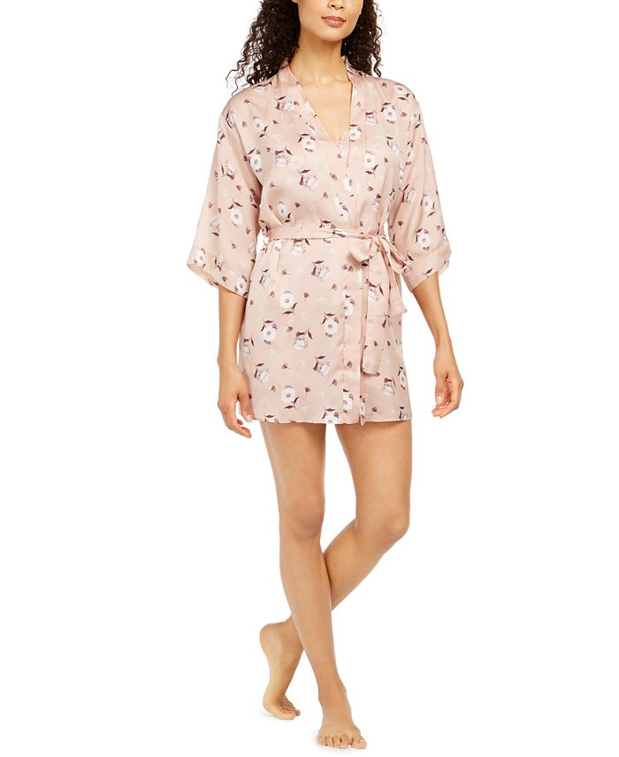 Flora by Flora Nikrooz - Diedre Floral-Print Charmeuse Wrap Robe